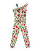 Mayoral Floral-Print One-Shoulder Jumpsuit, Size 4-7