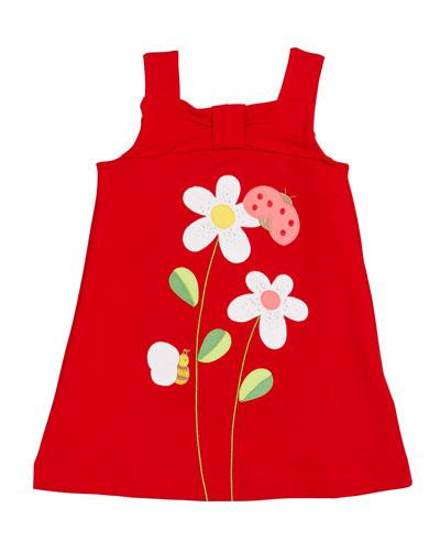 Sleeveless Sun Dress w/ Flower & Bug Appliques, Size 4-7