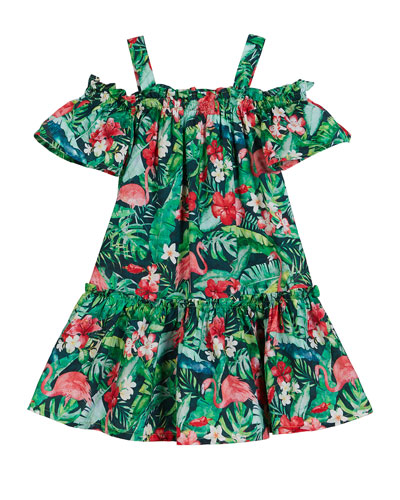 Flamingo Jungle Print Off-the-Shoulder Dress, Size 4-7