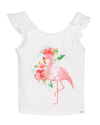 Sequin Flamingo T-Shirt, Size 4-7