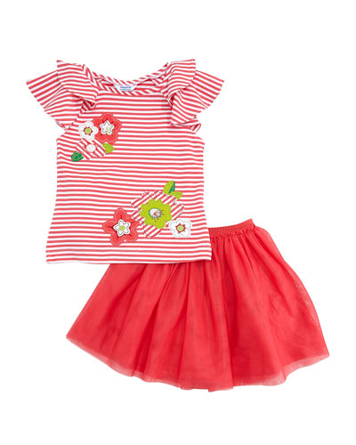 Striped Flower Applique Tee w/ Tulle Skirt, Size 4-7