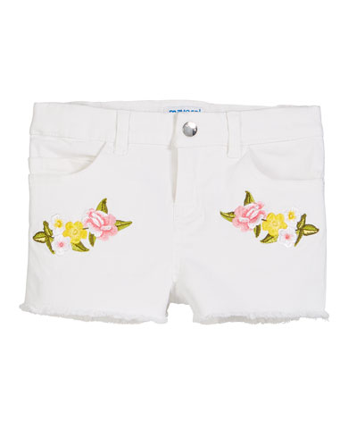 Floral Embroidered Twill Shorts, Size 4-7