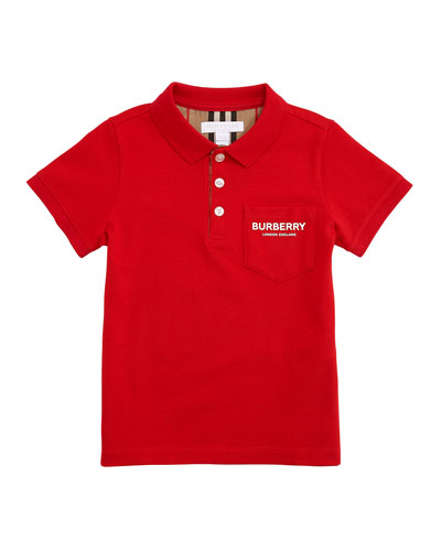 Wesley Polo Shirt w/ Logo Print Front Pocket, Size 3-14