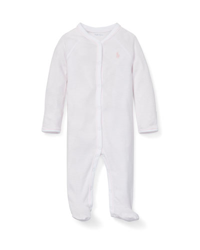 Striped Cotton Footie Pajamas, Size Newborn-12 Months