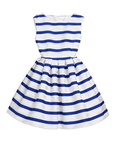 Horizontal Stripe Organza Pleated Dress, Size 2-6