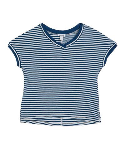 Slub Jersey Striped V-Neck Tee, Size 7-14