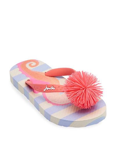 Striped Flip Flop Sandals w/ Rubber Pompom, Baby/Toddler