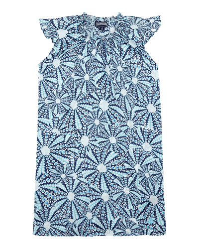 Gappy Ruffle-Sleeve Printed Dress, Size 2-14