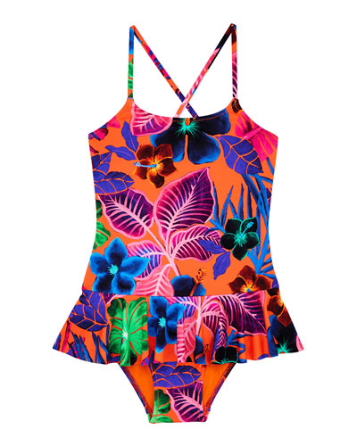 Grilly Palm Leaf One-Piece Swimsuit, Size 2-14