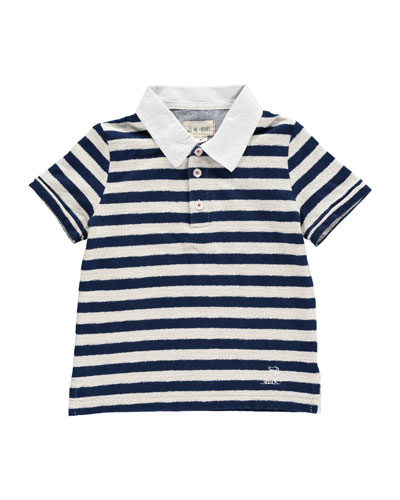 Striped Short-Sleeve Polo Shirt w/ Children's Book, Size 2T-10