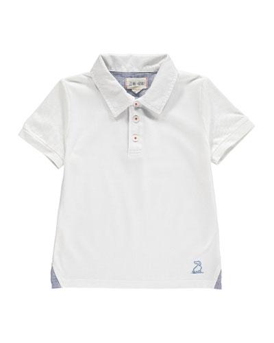 Pique Knit Polo Shirt w/ Children's Book, Size 2T-10