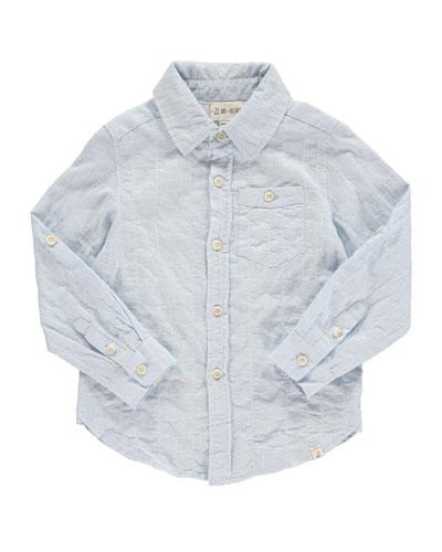 Woven Windowpane Collared Shirt, Size 2T-10