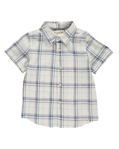Woven Plaid Collared Shirt w/ Children's Book, Size 2T-10