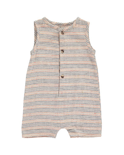 Striped Woven Playsuit w/ Children's Book, Size 0-24 Months