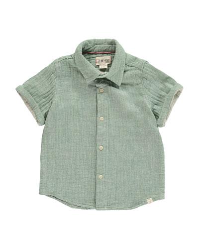 Woven Collared Short-Sleeve Shirt w/ Children's Book, Size 2T-10