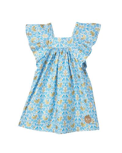 Golden Chickadee Flutter Sleeve Dress, Size 18M-6