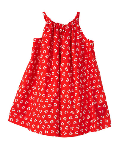 Cherry Print Halter Dress, Size 7-10