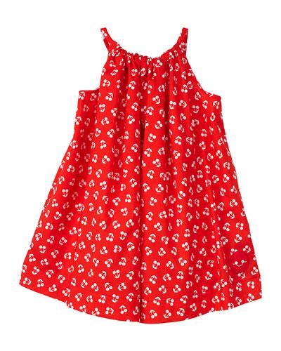 Cherry Print Halter Dress, Size 7-10