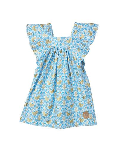 Golden Chickadee Flutter Sleeve Dress, Size 7-10