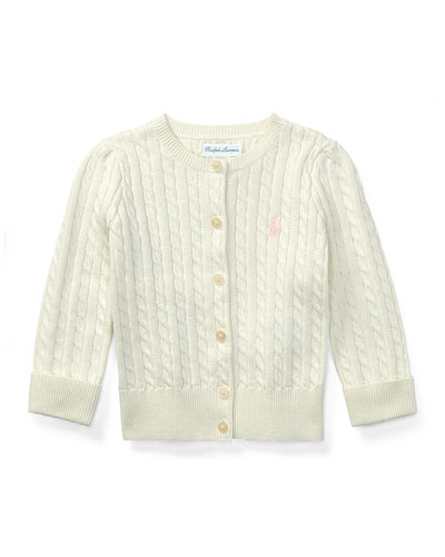 Cable Knit Cotton Cardigan, Size 3-12 Months