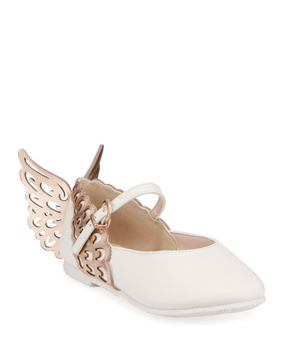 Evangeline Leather Butterfly-Wing Flats, Toddler/Kids