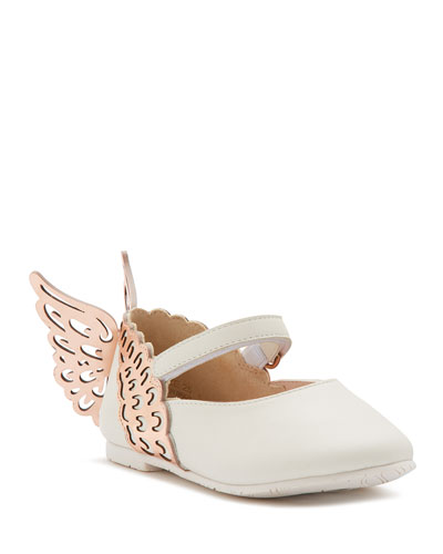 Evangeline Leather Butterfly-Wing Flats, Baby/Toddler