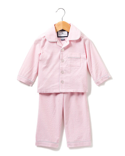 Stripe Seersucker Pajama Set, Size 6M-14