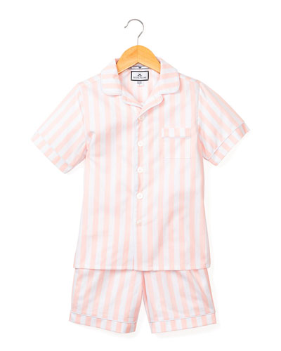 Modern Striped Pajama Set w/ Contrast Piping, Size 6M-14