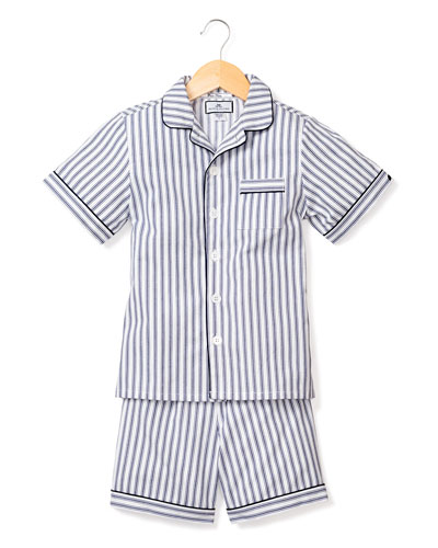 French Ticking Striped Pajama Set w/ Contrast Piping, Size 6M-14