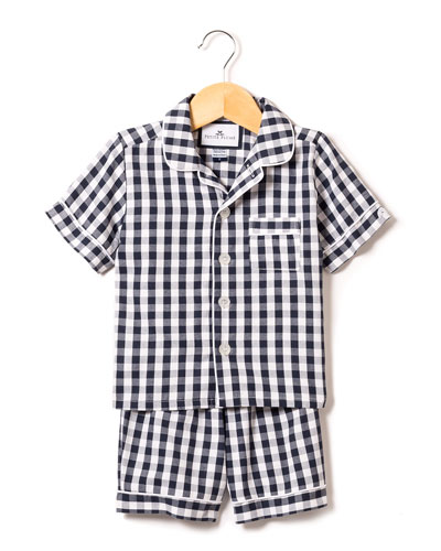 Gingham Twill Pajama Set w/ Contrast Piping, Size 6M-14