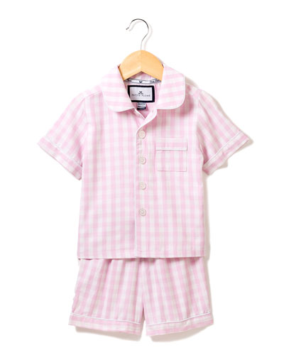 Gingham Pajama Set w/ Contrast Piping, Size 6M-14