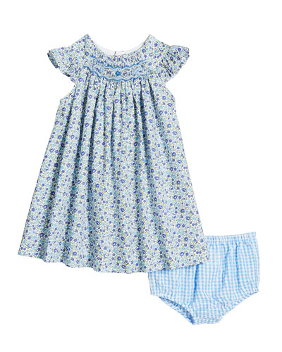 58bcdc36626 Quick Look. Luli   Me · Short-Sleeve Floral Smocked Dress w  Gingham  Bloomers