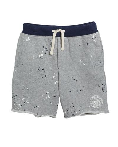 Paint Splatter Drawstring Sweat Shorts, Size 2-4