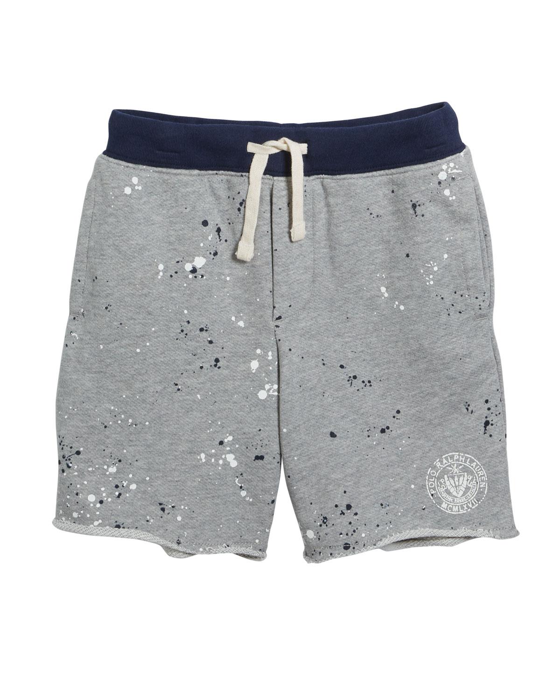 Ralph Lauren Childrenswear Kids' Paint Splatter Drawstring Sweat Shorts In Gray