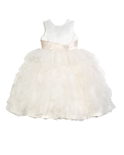 Satin Dress w/ Tulle Ruffle Skirt, Size 2-7