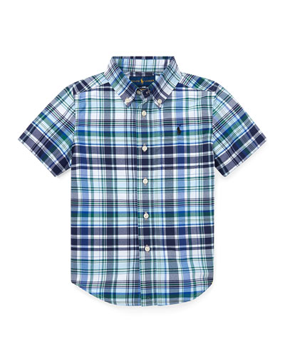 Short-Sleeve Collared Plaid Shirt, Size 5-7