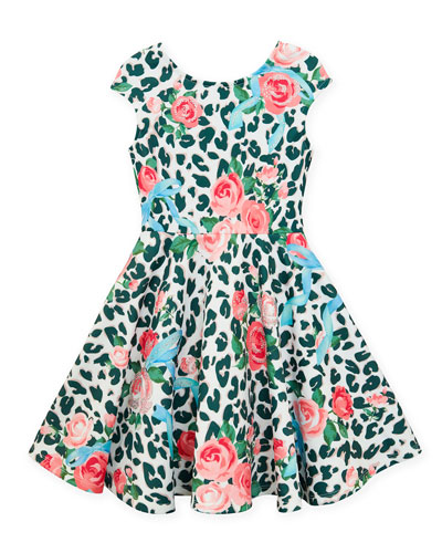 Neoprene Floral & Leopard Print Dress, Size 7-14