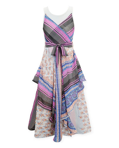 Scarf Print Maxi Dress, Size 7-16