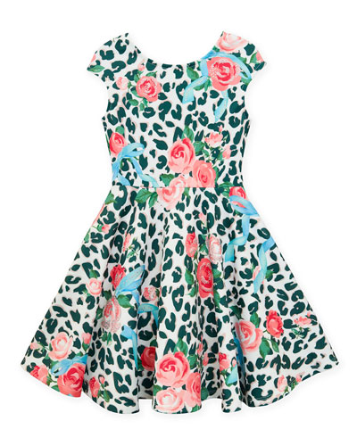 Neoprene Floral & Leopard Print Dress, Size 4-6X