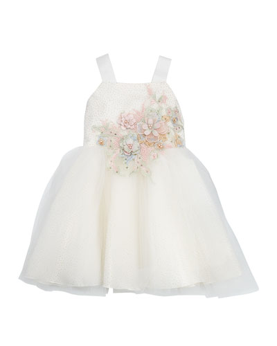 Paulina Embroidery & Tulle Ballet Back Dress, Size 4-6X