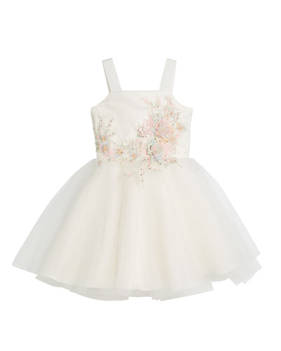 Paulina Embroidery & Tulle Ballet Back Dress, Size 7-16