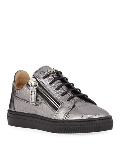 London Metallic Embossed Leather Low-Top Sneakers, Baby/Toddler