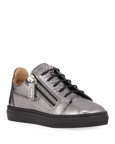 London Metallic Embossed Leather Low-Top Sneakers, Baby/Toddler
