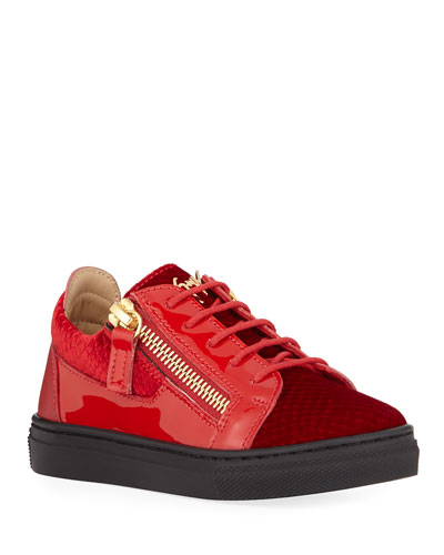 London Patent Leather & Velvet Low-Top Sneakers, Toddler/Kids
