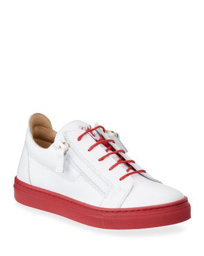 Contrast-Heel Leather Low-Top Sneakers, Baby/Toddler