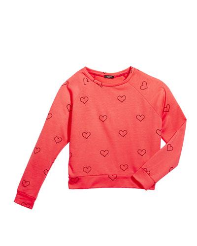 Outline Hearts Foil Print Sweatshirt, Size 7-16