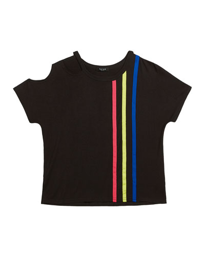 Bright Striped Slash Neck Tee, Size 7-16