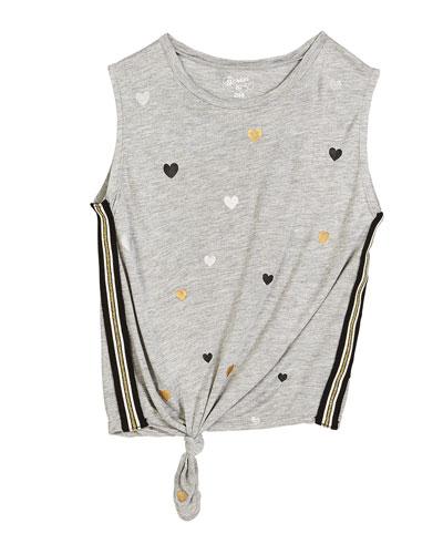 Metallic Heart-Print Tie-Front Tank Top, Size S-XL