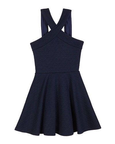 The Tracie Knit Jacquard Halter Dress, Size S-XL