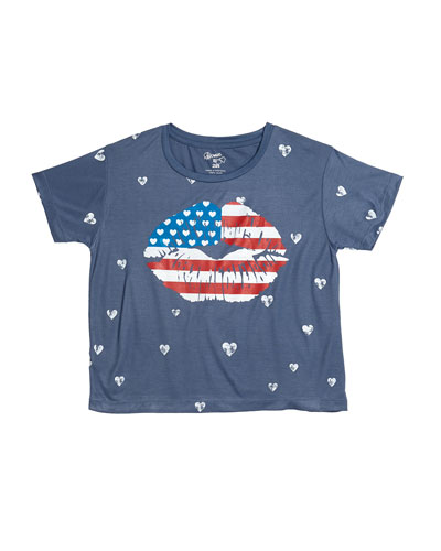 Mini Hearts Print Tee w/ American Flag Mouth Graphic, Size S-XL
